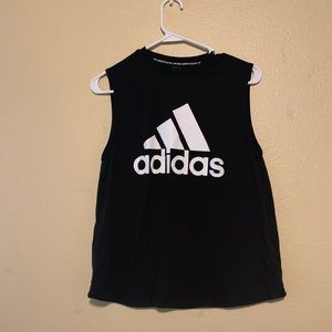 Adidas Black/White Baggy Crop Top